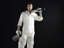 Cricket Player Holding Bat And Helmet Stock Photos