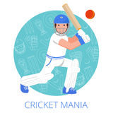 Cricket player icon poster print flat Royalty Free Stock Image