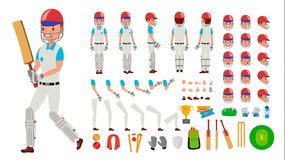 Cricket Player Male Vector. Sport Cricket Player Man. Cricketer Animated Character Creation Set. Full Length, Front royalty free illustration