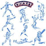 Cricket player playing with bat Stock Image