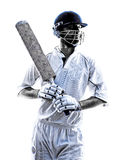 Cricket player  portrait silhouette Stock Images
