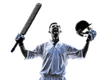 Cricket player  portrait silhouette Stock Photos