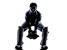 Cricket player  reciever silhouette Royalty Free Stock Images