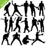 Cricket player silhouettes vector. Collection of Cricket player silhouettes vector Royalty Free Stock Photos
