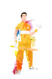 Cricket Player in uniform for Sports concept. Stock Photos
