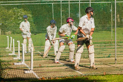 Cricket Players Batting Practice Nets Stock Images