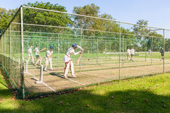 Cricket Players Batting Practice Nets Royalty Free Stock Images