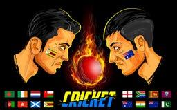 Cricket players of cricket championship. Illustration of cricket players of different participating countries of cricket championship Royalty Free Stock Photos