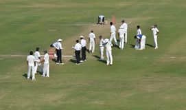 Cricket Players in the Ground Royalty Free Stock Photo