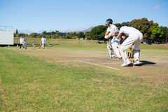 Cricket players playing match at field. On sunny day royalty free stock photo
