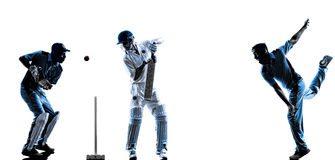 Cricket players  silhouette. Cricket players in silhouette shadow on white background Royalty Free Stock Photo