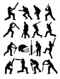 Cricket Players Silhouettes. Art vector design Royalty Free Stock Image