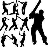Cricket players silhouettes collection