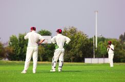 Cricket players standing around waiting on the field Royalty Free Stock Photo