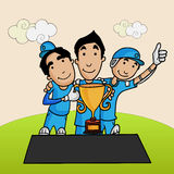 Cricket players with winning trophy. Royalty Free Stock Photo