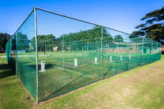 Cricket Practice Nets Wickets Game. Cricket training practice nets for batting and bowling practice for players teams for the game stock photo