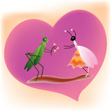 Cricket and queen ant on a heart shape background Royalty Free Stock Photos