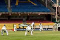 Cricket scene. A scene from the ongoing Irani Cup match in Bangalore Royalty Free Stock Image