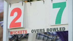 Cricket score board. Close up stock footage