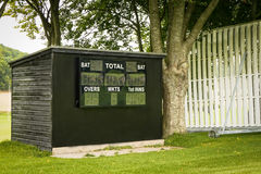 Cricket Score Board. Located by the cricket pitch in the school sports field Royalty Free Stock Images