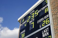 Cricket scoreboard Royalty Free Stock Photography