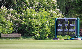 Cricket scoreboard. On the edge of a cricket pitch Stock Photos