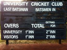 Cricket scoreboard Stock Photos