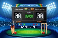Cricket scoreboard vector background Hitting recreation. Cricket background with scoreboard. Hitting recreation sport equipment. Vector design Stock Image