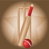 Cricket set. With dot background Royalty Free Stock Photo