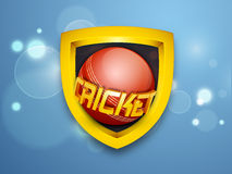 Cricket shield with ball and 3D text. Golden shield with ball and 3D text Cricket on shiny blue background stock illustration