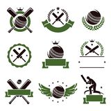 Cricket and soccer labels and icons set. Vector. Illustration Royalty Free Stock Photos