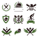Cricket and soccer labels and icons set. Vector Royalty Free Stock Photography