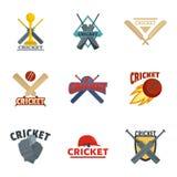 Cricket sport ball bat logo icons set, flat style vector illustration