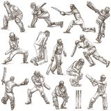 Cricket sport collection. Cricketers. Full sized hand drawings o Stock Images