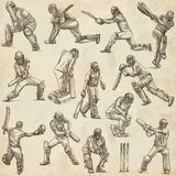 Cricket sport collection. Cricketers. Full sized hand drawings o Stock Image