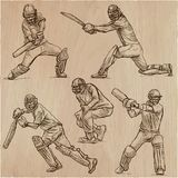 Cricket sport collection. Cricketers. An  hand drawn vector pack Stock Photography