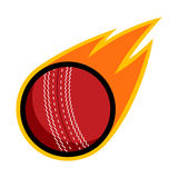 Cricket sport comet fire tail flying throw logo. Isolated symbol icon badge Stock Photography