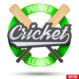 Cricket Sport Label. Crcket Sport Label. Wooden bats with tag and ribbons. Sporting Symbol and mascot. Vector Illustration Isolated on white background Stock Photography