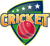 Cricket sports ball stars shield Stock Photos