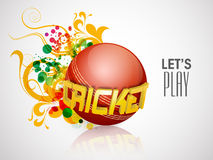 Cricket sports concept with ball and 3D text. Shiny red ball with golden 3D text Cricket on floral decorated grey background Stock Photos