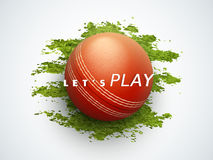Cricket sports concept with ball. Shiny ball with text Lets Play on green grass for Cricket sports concept Royalty Free Stock Photo
