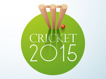 Cricket sports concept with ball and wicket stumps. Royalty Free Stock Image