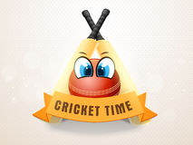 Cricket sports concept with bat and ball. Cricket bats and ball with funny eyes and text Cricket Time on ribbon Stock Photography
