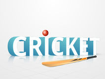 Cricket sports concept with bat and ball. 3D text Cricket with red shiny ball and bat on glossy white background Royalty Free Stock Photos