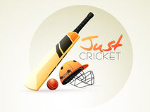 Cricket sports concept with bat, ball and helmet. Stock Photography
