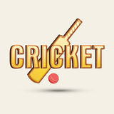 Cricket sports concept with bat and ball. Cricket sports concept with bat, ball and stylish text Stock Image