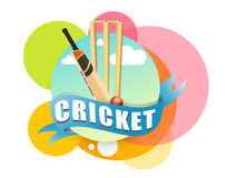 Cricket sports concept with bat, ball and wicket stumps. Royalty Free Stock Photo