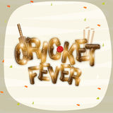 Cricket sports concept with bat, ball and wicket stumps. Shiny text of Cricket Fever with bat, ball and wicket stumps on stylish background Royalty Free Stock Photography