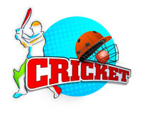 Cricket sports concept with batsman, ball and helmet. Cricket batsman in playing action with helmet, ball and text on stylish sky blue background Royalty Free Stock Photography