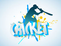 Cricket sports concept with batsman and 3D text. Silhouette of Cricket batsman in playing action with 3D text on sky blue background royalty free illustration
